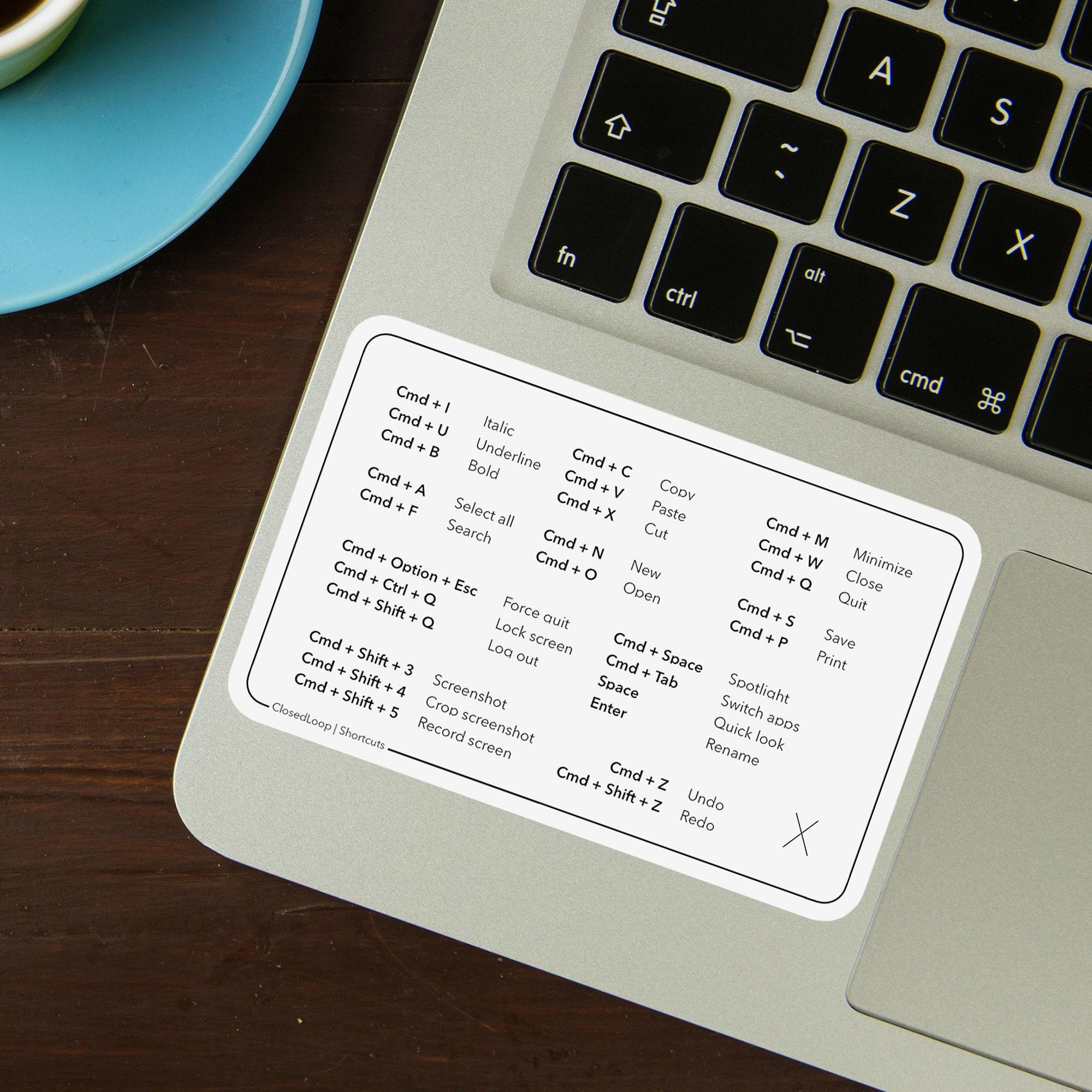 Mac OS MacBook Pro/Air/iMac Keyboard Shortcut Decal ...