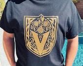 Vegas Golden Knights Gold Glitter T-Shirt Dia De Los Muertos