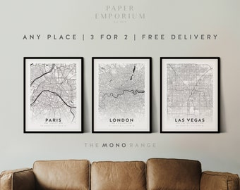 Custom Map Prints, Any Location, 3 for 2 Offer, - City Print, City Map, Map Print, Map Print, Map Print Poster, Custom Map