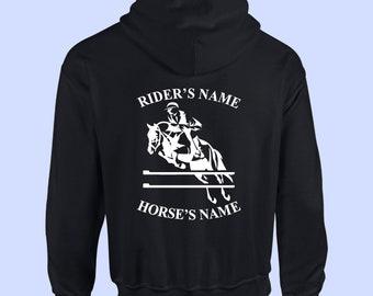 PERSONALISED SWEATSHIRT RIDER /& HORSE NAME RIDING LOVERS BOYS ADULT KIDS JUMPERS