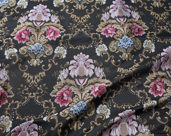 """Classic floral brocade fabric Embossed Damask jacquard textile upholstery material 58"""" wide - sold by the yard"""