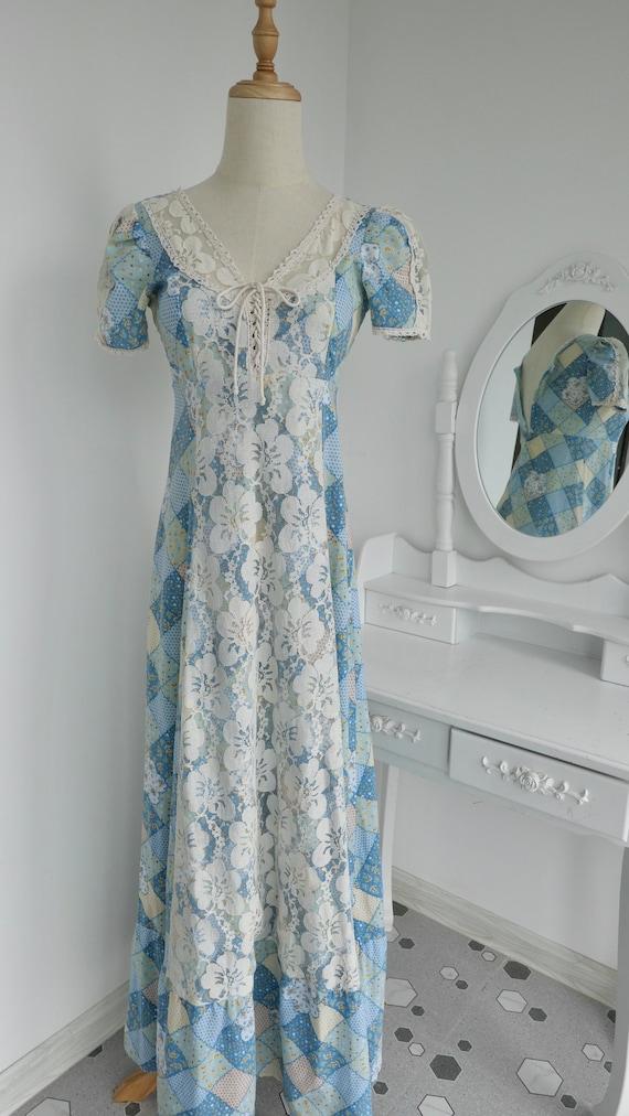 1970s Gunne Sax Style Patchwork Print Maxi Dress - image 4
