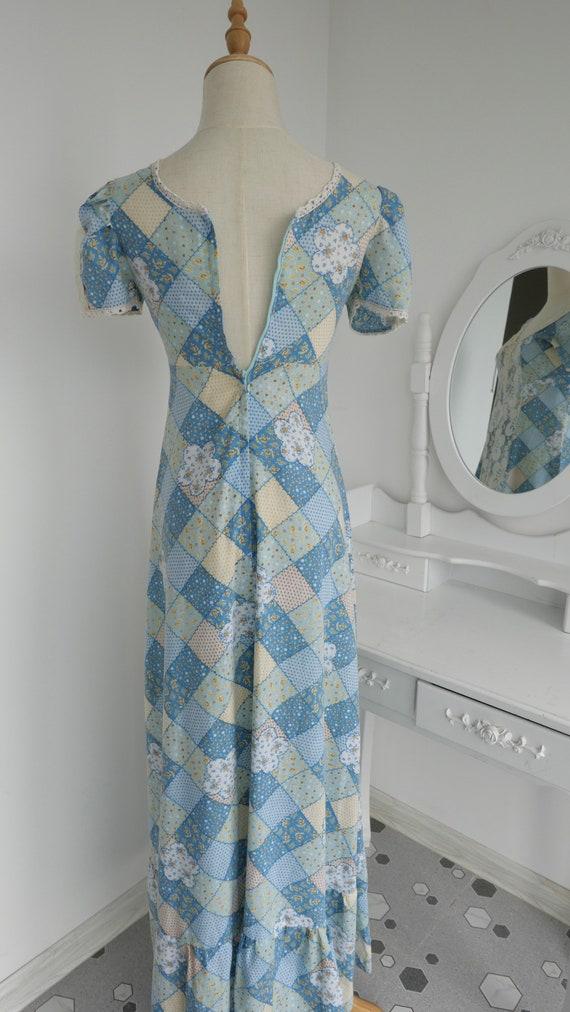 1970s Gunne Sax Style Patchwork Print Maxi Dress - image 5