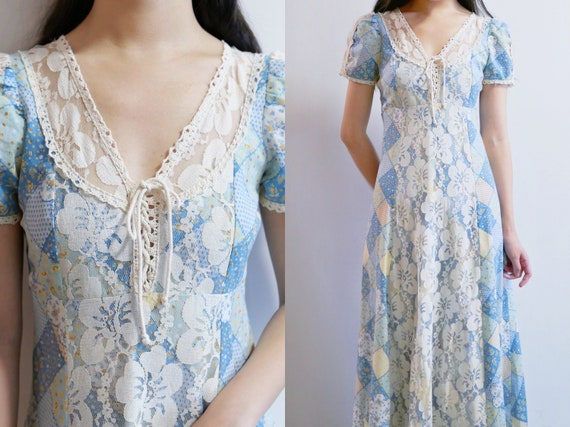 1970s Gunne Sax Style Patchwork Print Maxi Dress - image 1