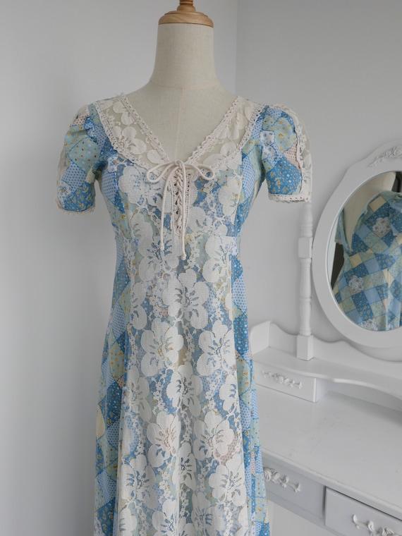 1970s Gunne Sax Style Patchwork Print Maxi Dress - image 10