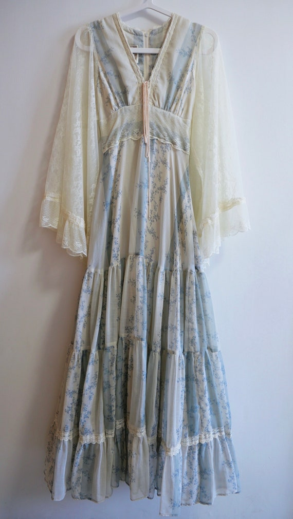 1970s Rare Gunne Sax Dress With Angel Wing Sleeves - image 4