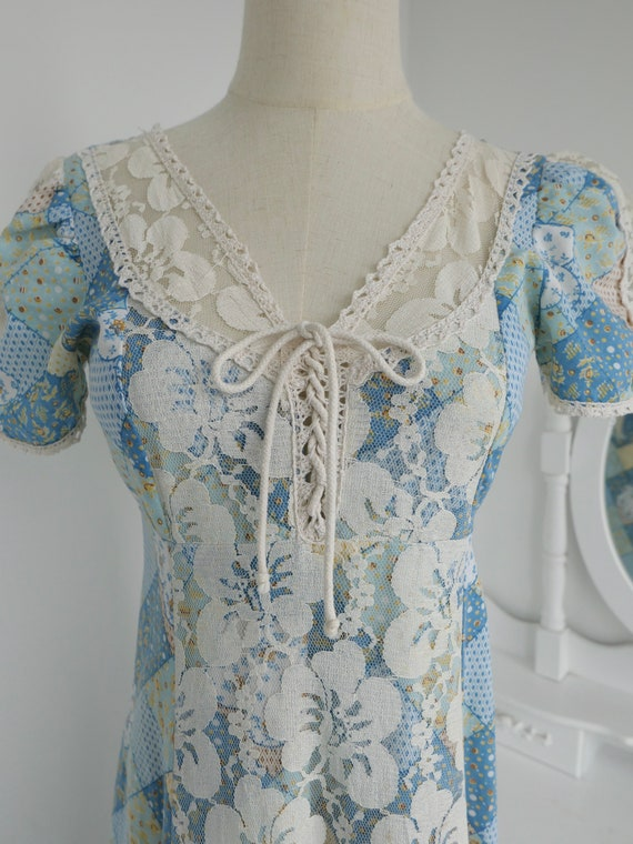 1970s Gunne Sax Style Patchwork Print Maxi Dress - image 8