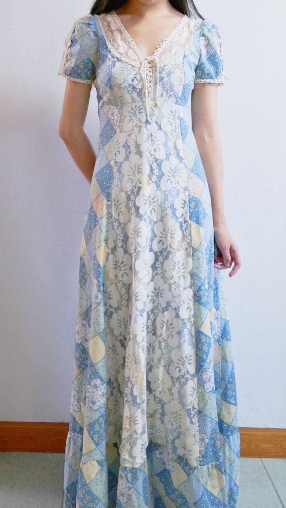 1970s Gunne Sax Style Patchwork Print Maxi Dress - image 2