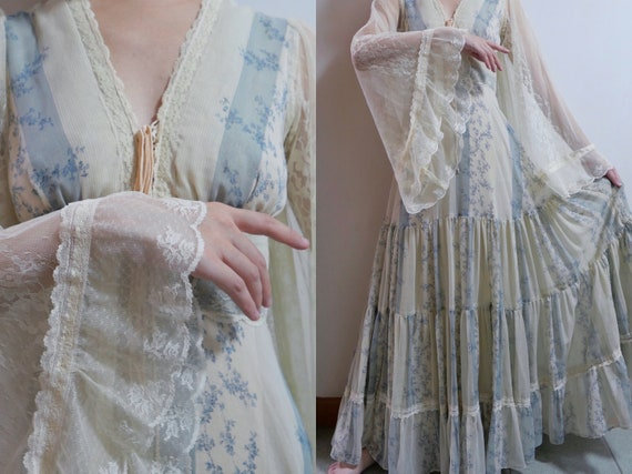 1970s Rare Gunne Sax Dress With Angel Wing Sleeves - image 1