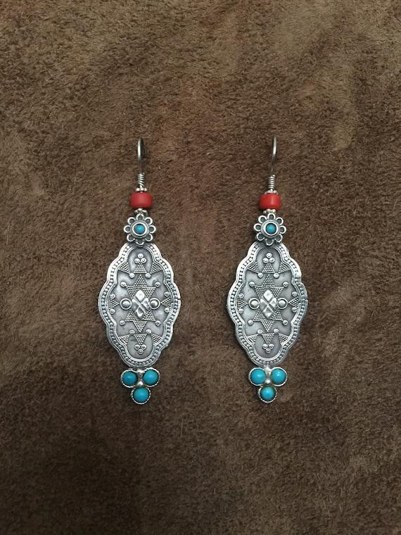 Kazakh Jewelry Vintage Kazakh Turquoise Earrings Tribal Earrings Ethnic Earrings