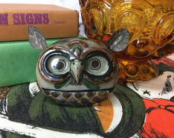 Vintage Mexican Pottery Owl