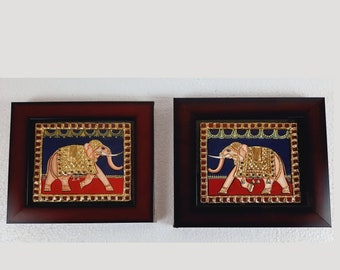 Elephant Pair 22K Gold Tanjore Painting With Fiber Frame, Indian Art Gift, Wedding Gift, Home Decor, Wall Art, Free Delivery, READY TO SHIP