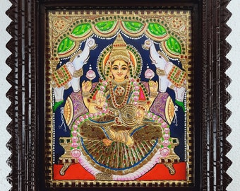 15 x 13 Inches Gajalakshmi Tanjore Painting with Frame, 22K Gold Painting, Teakwood Brown Frame, Free Shipping, Indian Gift, READY STOCK