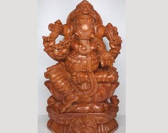 Wood Carved Ganesh idol, Wooden Ganesha, Wooden vinayaka, Pooja room décor, Temple carving,Large Ganesh, Free Shipping