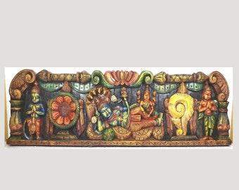 Wood Carved Sleeping Vishnu Wall  Panel, Balaji Wood Panel, South Indian Wood Carving, Wood Carving, Handmade Decorative Panel,Free Shipping