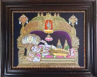 """23"""" x 19"""" Sri Ranganathar Swamy Tanjore Painting, Made with 22K Original Gold Foils, Teakwood Framed, Pooja Room Décor, Free Shipping"""
