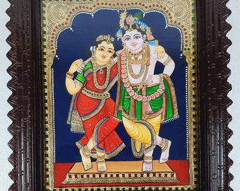 """18"""" x 15"""" Krishna Rukmani Tanjore Painting with Frame, Made in 22K Gold Foils, Pooja Room Décor, Free Shipping, Special Price Now"""