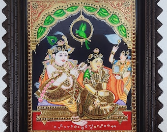 """18"""" x 15"""" Radha Krishna Tanjore Painting with Frame, Made in 22K Gold Foils, Pooja Room Décor, Free Shipping, Special Price Now"""
