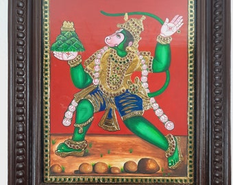 """18"""" x 15"""" Gold Tanjore Painting of Sri Hanuman, Strength & Power to overcome Troubles in life, 22K Gold , Indian Art Gift, Free Shipping Now"""