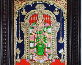 """18"""" x 15"""" Madurai Meenakshi Amman Tanjore Painting with Frame, Made in 22K Gold Foils, Pooja Room Décor, Free Shipping World Wide Now"""