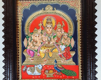 """18"""" x 15"""" Shiva Family Tanjore Painting, Hindu Lord Shiva Painting for Home Decor, 22K Gold Foils Teakwood Framed Painting, Free Shipping"""