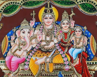 """23""""x19"""" Gold Shiva Family Tanjore Painting with Frame , Made in 22K Pure Gold Foils, Indian Art Gift, Free Shipping, Ready to Despatch"""