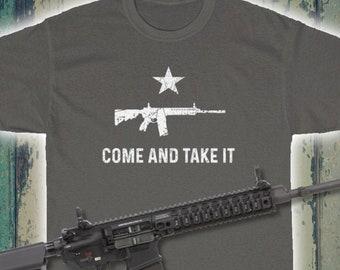 Come And Take It AR-15 TShirt (Gonzales Flag, Pro-Gun, Conservative, Molon Labe)