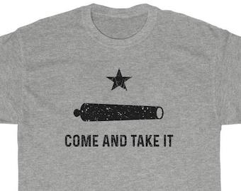 Come And Take It Gonzales Flag Cannon T-Shirt (Pro-Gun, Anti-Biden, Gonzales Flag, Guns, Distressed Texture)