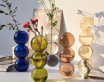 Short Bubble Glass Vase 3 Ball Hydroponic