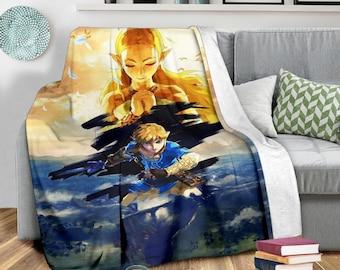 Legend Of Zelda Fleece Blanket Stain Glasses Style Bedding Decor Gift