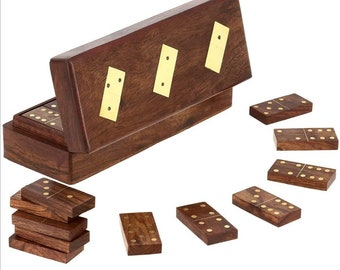 Handmade Wood Domino Game with 28 domino Tiles Wooden Domino Set Personalized Engraved Board Games
