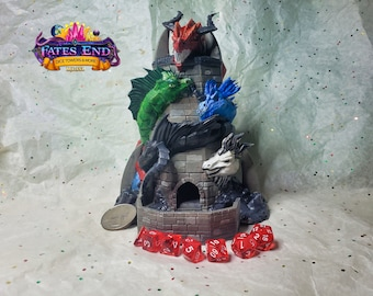 Tiamat Dice Tower, Made to Order, Custom Painted - Fate's End