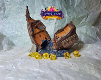 Pirate Ship Dice Tower, Made to Order, Custom Painted - Fate's End