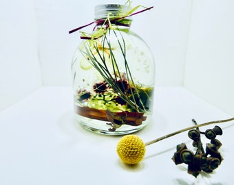 HERBARIUM BOTTLE ,UNIQUE , Inspired Collection, Preserved Flower in Bottle,Herbarium, Unique floral gift, Botanical Home Decor
