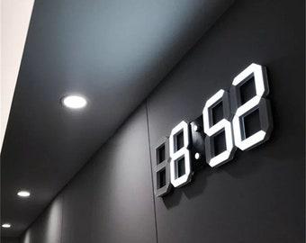 3D LED wall clock,modern design,digital table clock,alarm for home, living room decoration .