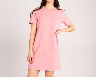 Sustainable Organic T-Shirt Dress - Summer Pink