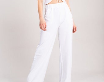 Organic Wide Leg Jersey Trousers - White - Sustainable