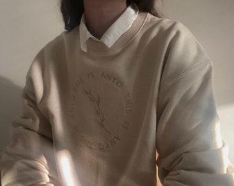 Premium Organic Oversized Embroidered Sweatshirt Natural