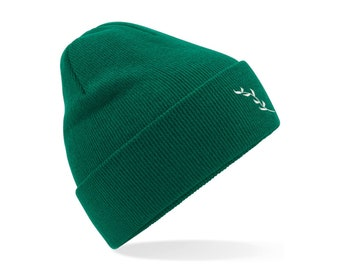 Recycled Cuffed Beanie Hat - Green