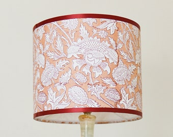 Drum Lampshade Indian Hand Block Printed Cotton   No. 6   Botanical Patterned Textile