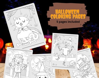 Cute Halloween Coloring Pages | Coloring Pages | Halloween Crafts | Halloween Art | Coloring Page Set