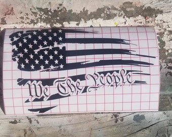 We the People Flag Car Vinyl Sticker Window Decal