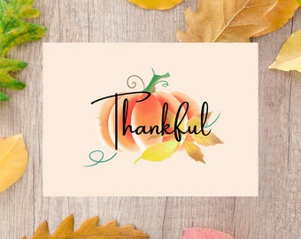 Thankful Pumpkin Card | Fall Card | Thanksgiving Card | Digital Download | Printable Card