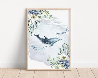 Botanical Floral Dolphin Wall Art Printable, Digital Download, Under The Sea Landscape Wall Print, Underwater, Livingroom, Nursery Decor