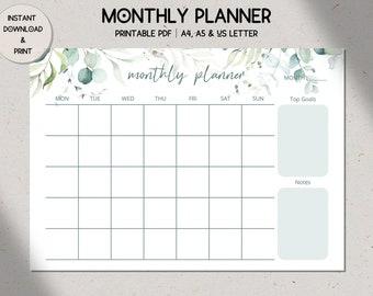 Eucalyptus Landscape Monthly Planner Printable, Botanical Undated Monthly Calendar, A4/A5/US Letter, Digital Download, Sunday/Monday Start