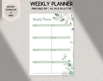 Botanical Weekly Planner Printable, A4/A5/US Letter Weekly Schedule, Desk Planner, Eucalyptus, Green Leaves, Digital Download