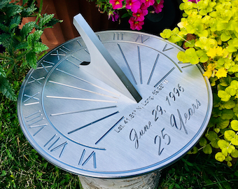 Custom 25th Wedding Anniversary Engraved Sundial Gift for: Parents, Grandparents, Couples, For Him or Her, Silver Anniversary