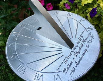 Custom 10th Wedding Anniversary Engraved Sundial Gift for: Parents, Grandparents, Couples, For Him or Her, Tin Anniversary