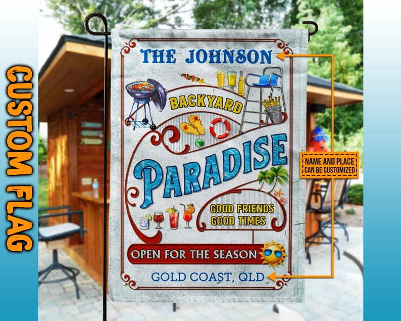 Gearhuman – Personalized Backyard Paradise Garden flag Decorative outdoor