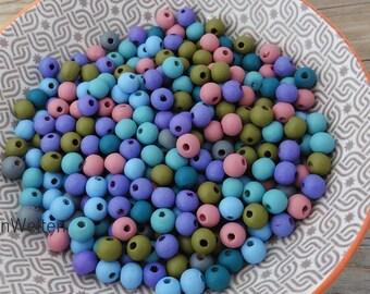 Holzperlen Mix beere blau 5-8mm 4 Stränge Perlen Tuben 278 Stück Perlenmischung